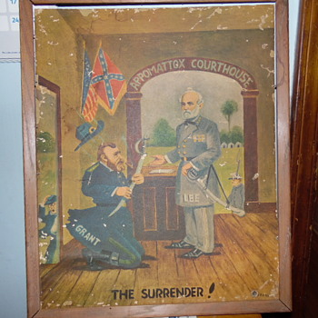 """1960's Comical Print """"Surrender Lee to Grant  At Appomattox Court - Visual Art"""