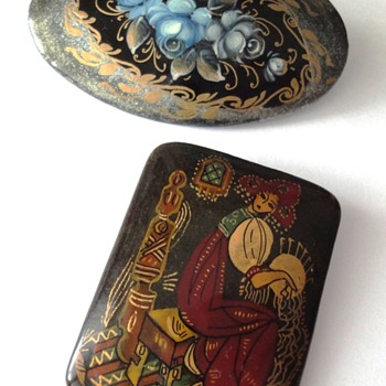 Two vintage Russian brooches