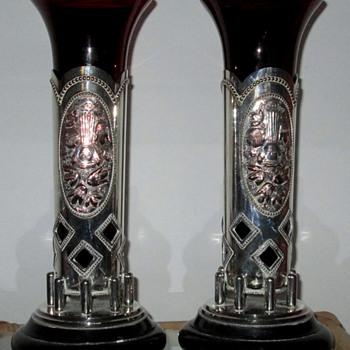 c 1900  'SZANDRIK' AUSTRIAN - HUNGARIAN  TRUMPET VASE - Art Glass