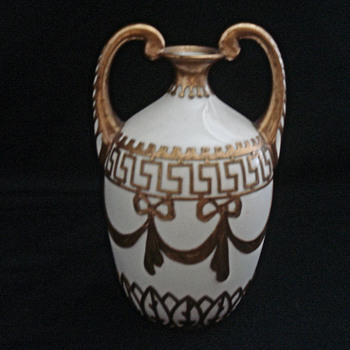 White Porcelain Vase - Heavy Gold Overlay - Art Pottery