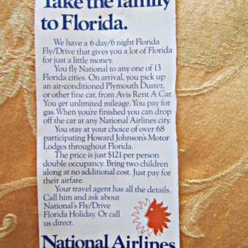 1975 National Airlines Ad for a Florida Vacation Package - Advertising