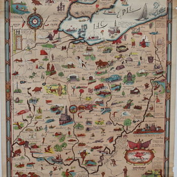 Vintage Mobilgas Pegasus Ohio Travel Map Illustrated Poster