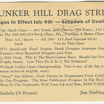 Bunker Hill Drag Strip 1961 - Postcards