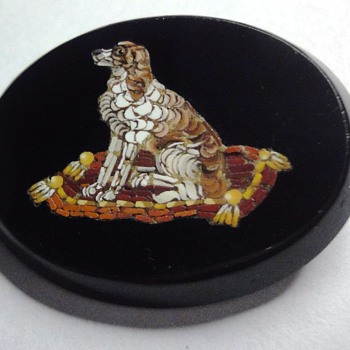 A Micro Mosaic Dog on Cushion brooch