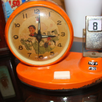 Day Date Calender Art Deco metal Alarm clock with Waving Hand  &amp; Airplane ??? - Clocks