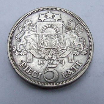 1929 Latvia Five Lati Crown Size Silver Coin  - World Coins