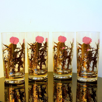 Gregory Duncan Gold Leaf & Purple Thistle Barware Glasses