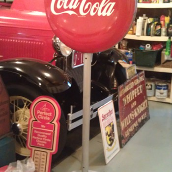 Coca Cola Two-Sided Porcelain Button Lollipop Sign on Cast Iron Stand