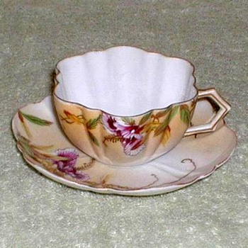 Hand-painted Porcelain Demitasse Cup & Saucer - China and Dinnerware