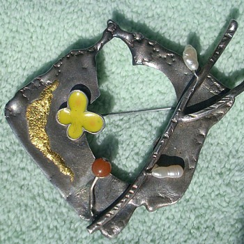 Sterling & gold modernist brooch pin signed in script 925  Lou NY ? Tonny ? - Fine Jewelry