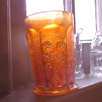 Vintage Fenton Carnival Glass Marigold Butterfly and Berry Tumbler - Glassware