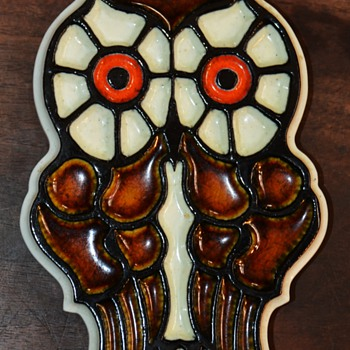 Ceramic Owl Plaque by Konrad Galaaen - early 70s?