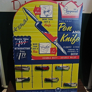 1950s Imperial Pen Knives on store display card - Advertising