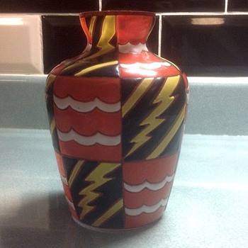 Art Deco enamelled glass vase by Leune.