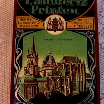 GERMAN LITHO AD  TIN SHOWING TOURIST ATTRACTIONS, CATHEDRAL, ETC
