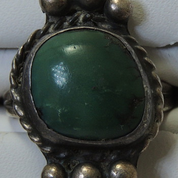 Navajo Ring - Sterling Silver+ and Green Turquoise - 1930-1940