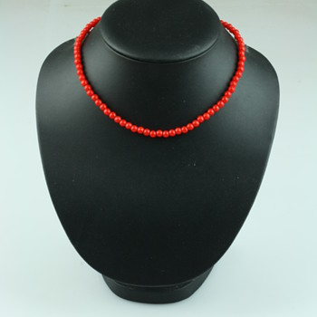 Bright red coral necklace