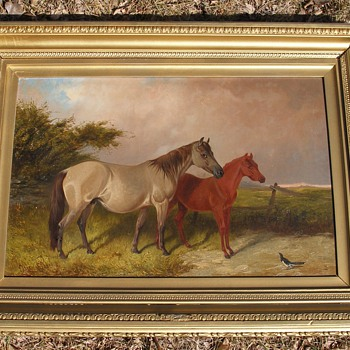 Old Beautiful Horse and colt  Oil painting - Folk Art