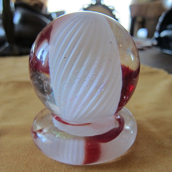 Beautiful Red and Weight Paperweight with Stand - Art Glass