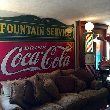 HUGE 1930s Coca Cola 5-Color Sign & Fountain Service Topper Porcelain Signs - Coca-Cola