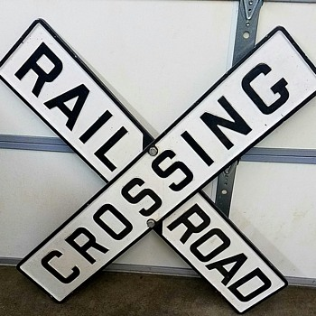 Cast Iron Railroad Crossing Sign - Railroadiana