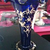 Victorian Blue Glass fine Enamelled Flute Vase