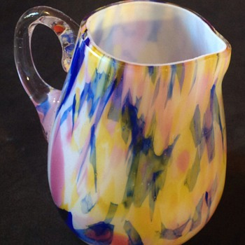 Colourful small glass jug