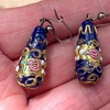 Antique Enamelled Glass Earrings