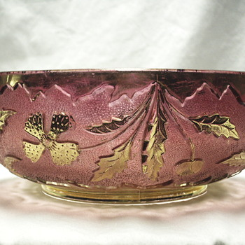 "EAPG Cranberry Stained glass w/Gold Gilt, Delaware Bowl,"" U.S. Glass Co"".19??"