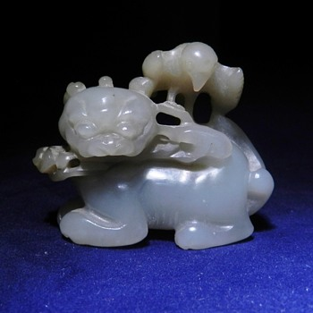 19th Century (?) Chinese White Jade Okimono