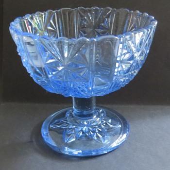 Pale Blue Glass Compot / Candy dish - Glassware