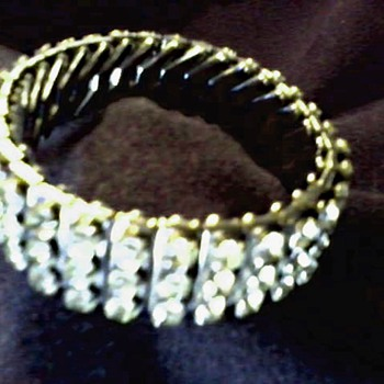 """Empire Made""  Three Row Diamante Rhinestone Expandable Bracelet / Circa 1950"