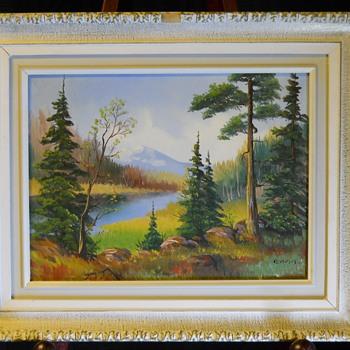 """3/3  Muskoka landscape, Oil on Board  """"Anna-Liisa Javala"""" Circa 1960-70 - Visual Art"""