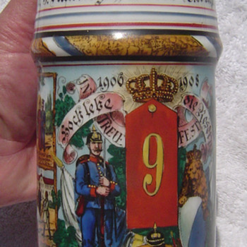 Imperial German Reservist's stein with Prism top, named to Infanterist Klinger, 9th Bavarian Infantry