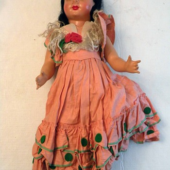 Unknown Origin Vintage European Doll - From Spain? 17 Inches Pretty!! - Dolls