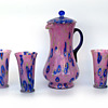 Kralik caned/millefiori pink glass powder pitcher and glasses