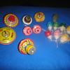 Vintage Toy Tin & Wood Tops