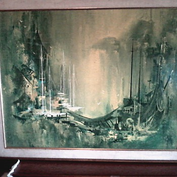 """Waterfront"" 1968 by Frans Van Lamsweerde / Print on Canvas 33"" x 41"" / Oil ?? - Fine Art"