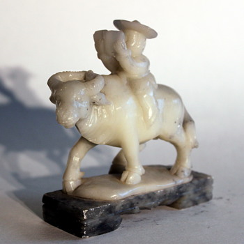 Chinese Soapstone Ox Rider on Marble Base