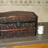 Antique Doll Trunk - Embossed Metal Swirl Design
