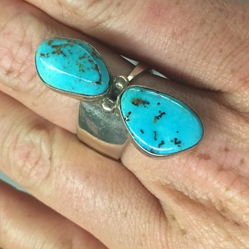 Native American Navajo Sterling Silver Turquoise Ring - Fine Jewelry