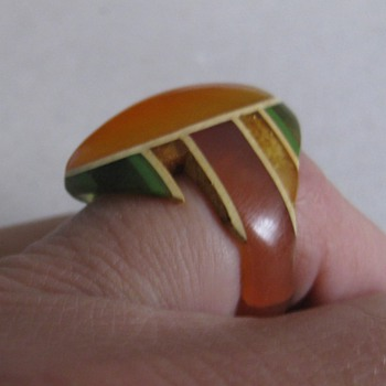 Celluloid & bakelite ring made from toothbrushes, etc.