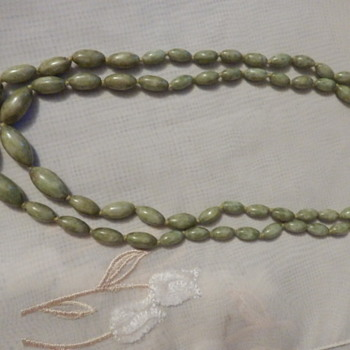Two stranded pale olive green glass necklace  - Costume Jewelry