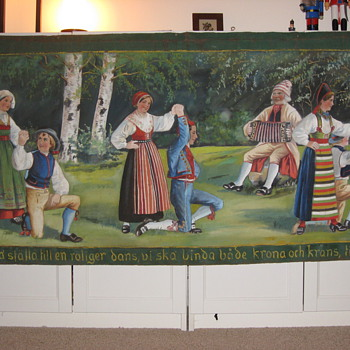Swedish folk art banner paintings on canvas - Folk Art