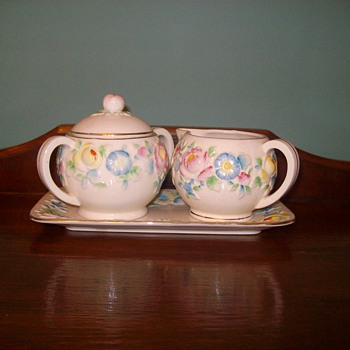 """The Hinode Japanese Sugar Creamer Tray Set - China and Dinnerware"