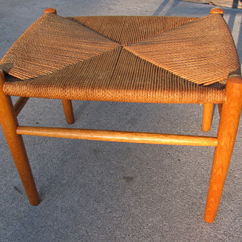 Danish Modern Teak &amp; Seagrass Stool by Peter Hvidt &amp; Orla Molgaard-Nielsen