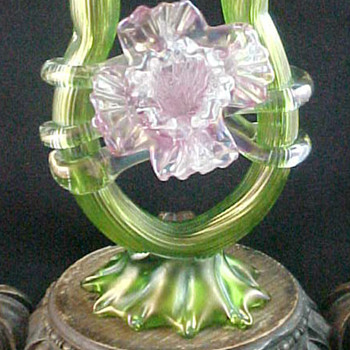 Bohemian Kralik Iridescent Green & Pink Floriform Art Glass Vase - Art Glass