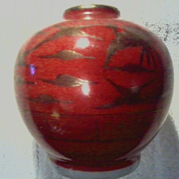 "Japanese "" Kutani "" Porcelain Jar / "" Eiraku"" Red Ground with Gilt Cranes/ Circa Meiji Period 1868-1912"
