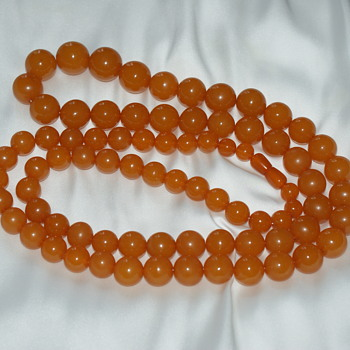 Long and Heavy Pressed Amber Necklace - Fine Jewelry