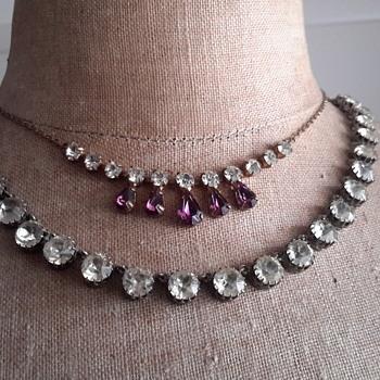 Two 1920s pastestone necklaces